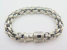 Pure 925 Sterling Silver Bracelet / Men Unique 12mm W Chain Bracelet / 9inch