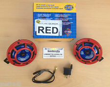 HELLA RED PANTHER  SHARP TONE DUAL HORNS - RELAY- 118 DB -12 VOLT- GENUINE