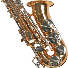 Alt Saxophon 2 farbig, Messing + Chrom mit Koffer, Neu