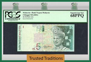 "TT PK 41b 2001 MALAYSIA 5 RINGGIT ""T.A. RAHMAN"" PCGS 68 PPQ SUPERB NONE FINER!"