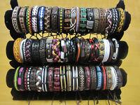50/100 Wholesale Lot Hot Unisex Handmade Braided PU Leather Bracelet Wristband