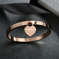 Women Jewelry Bangle Valentine Gift Stainless Steel Silver Gold Heart Bracelet