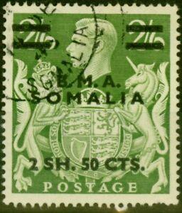 British Occu Somalia 1948 2s50c on 2s6d Yellow-Green SGS19 Fine Used (4)