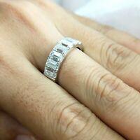 Certified 2.00 Ct Emerald Cut Diamond Half Eternity Wedding Band 14K White Gold