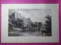Antique engraving VIEW of WARWICK CASTLE, Warwickshire - Veduta etching / print.