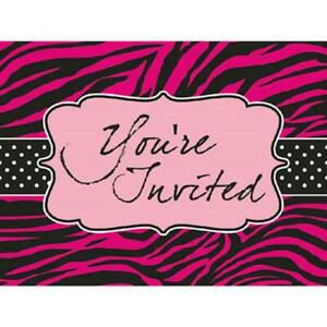Sassy Sweet Pink Zebra Boutique Bachelorette Party Invitations - Girls Night Out