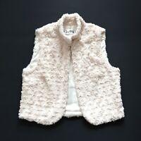 Joseph Ribkoff Size 12 Cream Textured Faux Fur Bodywarmer Waistcoat Gilet Vest