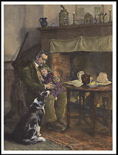 BORDER COLLIE WITH SHEPHERD AND DAUGHTER CHARMING SCENE ON DOG PRINT POSTER