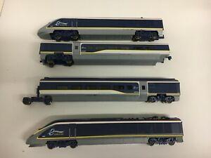 Hornby Eurostar Electric Train Power Car/Dummy Power Car  & 2 Coaches - Unboxed