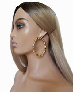 7cm gold tone large - thick - chunky patterned twisted BIG tube hoop earrings