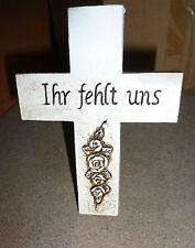 """Kreuz mit Draht """"Ihr fehlt uns"""" Grabkreuz #730602"""