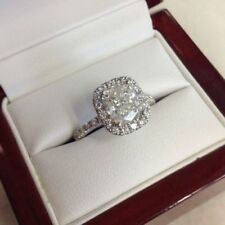 Certified 1.50Ct Cushion Cut Diamond Solitaire Engagement Ring in 14k white Gold