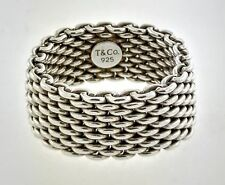 Tiffany & Co Somerset Sterling Silver 10mm Wide Flexible Woven Mesh Ring Sz 8.5