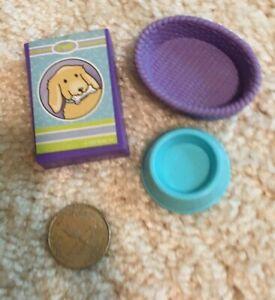 Barbie dollhouse dog bone box food bowl dish pet bed basket diorama purple blue