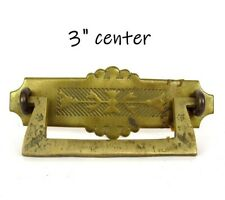 """Antique Drawer Pull Hand Cast Solid Brass 3"""" Center"""