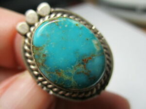 STERLING SILVER ESTATE VINTAGE SOUTHWEST BLUE TURQUOISE ROPE EDGE RING SIZE 6