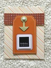 Handmade HAPPY BIRTHDAY Greeting Card for Boys/Males in Oranges Reds Tag Brad