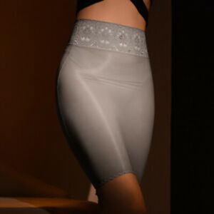 Women Sexy Oil Shiny Glossy Stretch Sheer Bodycon Skirt Transparent See Through