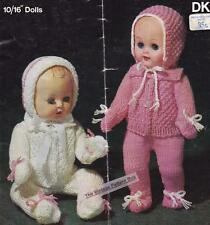 "BABY PRAM SET for 10"" to 16"" dolls / 8ply or D.K. - COPY doll knitting pattern"