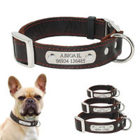 Personalized Leather Dog Collar with Free Laser Engraved ID Tag Name Plate XS-M