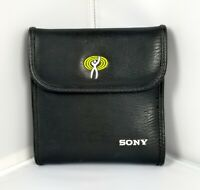 SONY Black Leather 12 CD DVD Case Embroidered Logo Travel Holder Organizer RARE