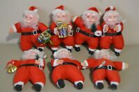 Vintage Plastic Santa Claus Figures Collectible Decor Ornament Wreath Squeak Toy