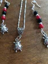 silver chain silver ladybug/red/black/silver beads pendant/earring