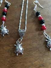 sterling silver chain silver ladybug/red/black/silver beads pendant/earring