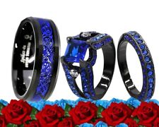 His Tungsten and Her Blue Cz Black Plated Bridal Engagement Wedding Ring Set