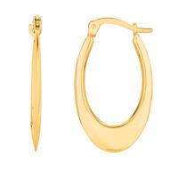 14K Yellow Gold Graduated Puffed Open Oval Hoop Earrings