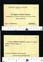 CARTOLINA POSTALE - AL SIG.ENRICO DETKEN-NAPOLI- RICHIESTA CAMP.OMAGGIO- 28604