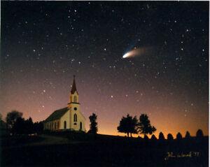 HALE BOPP COMET &CHURCH PHOTO BOONE IOWA ASTRONOMY 1997