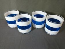 Set of 4 Blue & White Striped Georges Briard Double Old Fashion Glasses (Nh)