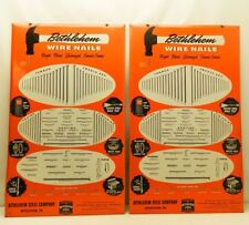 Pair of Vintage Bethlehem Steel Barb Wire Nails Fencing Hardware Store Sign