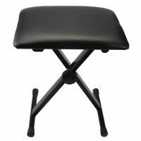 US Padded Stool X Seat Chair Adjustable Folding Piano Keyboard Bench Leather
