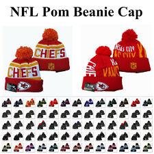 Embroidered NFL Football Teams Logo Cuffed Beanie Cap Pom Ski Hat Winter Warm