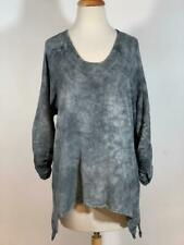 """OH MY GAUZE """"ARTY BLOUSE"""" 100% Cotton Ruched Sleeves Washed Graphite Size 2"""