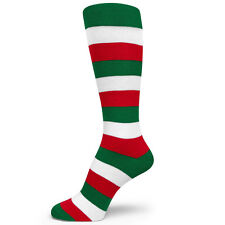 Green/Red/White Mid Size Stripe Groomsmen/Mens Dress Socks MA162