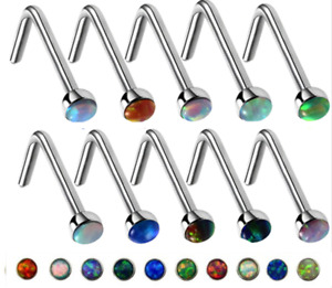 Fire Opal Nose Stud Bone Surgical Stainless Steel L Bend Stud 20g 0.8 10 colours
