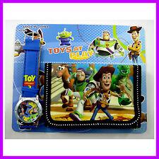 NEWEST Toy Story Buzz & Woody Kids Boys Child Wrist Watch and Purse Wallet SET