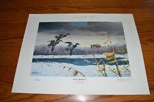Vintage Les Kouba Late Mallards duck print Barn -Farm Background Snow on ground