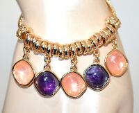 BRACELET femme chaîne or doré pendentifs perles violettes roses charms BB44