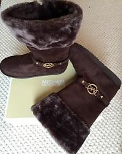 MICHAEL KORS Maskara Faux Suede Sherpa Boots Brown MK Womens 6 Youth 4 NIB