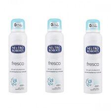 3x NEUTRO ROBERTS Fresco deo spray deodorant Fresh 125 ml without alcohol