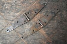 Vintage iron handmade french gate door Furniture hinges pair barn rusty 2 Pic