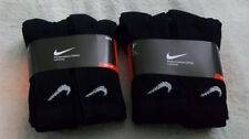 12 Pairs Nike Big Kids' Cotton Cushioned Crew Socks, Black Color, Sz. M 3-5Y(US)