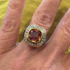 "NEW ""designer inspired"" Topaz Amber CZ Ring With Pave & Cable Detail size 6"