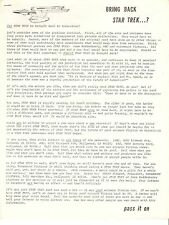 Bring Back Star Trek ...Pass It On - Original mailer from DAGE Co. - 1970's
