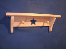 Pine Wooden Shelf 16 in. With Star,pegs  Unfinished, Country, Rustic, Wall Shelf