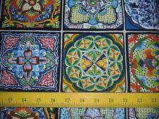 "Elizabeth's Studios Fabric Fiesta Blue & Green 27"" Panel 4 Quilts Totes Pillows"